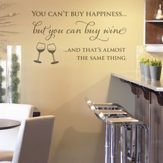 'Wine and Happiness' Wall Sticker Quote
