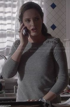 Olivia�s grey sweater with gem studded shoulders on Ravenswood.  Outfit Details: http://wornontv.net/25365/ #Ravenswood