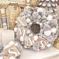 Christmas Baby, Winter Christmas, Christmas Crafts, Seasonal Decor, Holiday Decor, Pom Pom Wreath, Xmas Wreaths, Xmas Decorations, Burlap Wreath