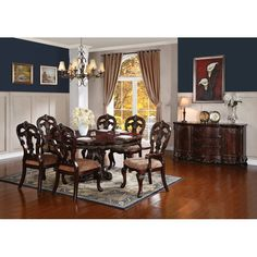 Astoria Grand Chalus 7 Piece Extendable Dining Set & Reviews | Wayfair Round Dining Room Sets, Kitchen Dining Sets, Dining Room Table, Furniture Styles, Dining Furniture, Cool Furniture, Double Pedestal Dining Table, Solid Wood Dining Set, Cabinet Decor