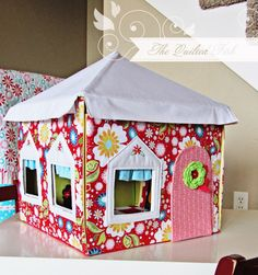 Designer Tidbits: The Quilted Fish: Petite Maison Folding Doll House: With Patterns for Doll House, Dolls, and Bag [Paperback] Amanda Herring (Author) Sewing For Kids, Diy For Kids, Crafts For Kids, Card Table Playhouse, Felt Crafts, Diy Crafts, Craft Projects, Sewing Projects, Table Tents