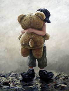 Bear Hug - Painting by Keith Proctor