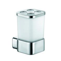 KLUDI E2 universele glashouder met verchroomde multifunctionele opleg 4998205. Glas van wit gematteerd opaal glas.