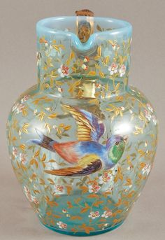 Pretty Blue Opalescent 19th century Moser Art Glass Pitcher: with birds and insects flying amidst gilt blossoms