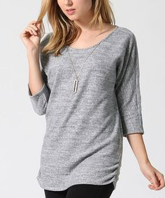 This Heather Gray Three-Quarter Sleeve Necklace Tunic is perfect! #zulilyfinds