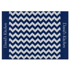 Sapphire Blue Chevron Glass Cutting Board .............This design features a Sapphire Blue Chevron pattern. The TEXT on both sides (left and right) can be customized with your own name. Check out my store for more colors.