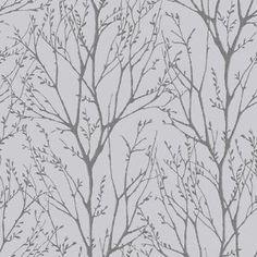 I Love Wallpaper™ Shimmer Tree Wallpaper Soft Grey / Silver - Wallpaper from I love wallpaper UK Silver Tree Wallpaper, Tree Branch Wallpaper, Copper Wallpaper, Waves Wallpaper, Feature Wallpaper, Metallic Wallpaper, Grey Wallpaper, Wallpaper Roll, Peel And Stick Wallpaper