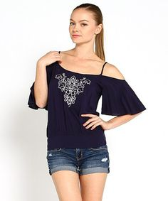 Look at this Marineblu Navy Flutter-Sleeve Cutout Top on #zulily today!