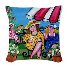 Garden Party Divas Folk Art Pillow - Almohada Throw Tejido Arte caprichoso porción Renie Britenbucher