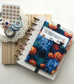 Creepy Graveyard Planner Pouch, Planner Band, Halloween Zipper Pouch, Fits…