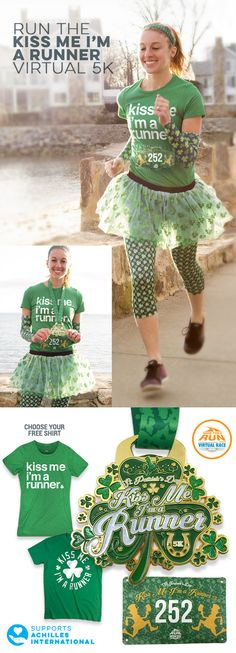 Celebrate St. Patrick's Day with a lot of love when you run the Kiss Me I'm A Runner Virtual 5K! Medal has a built in bottle opener to celebrate post race. Includes your choice of a Women's tee or Unisex tee.