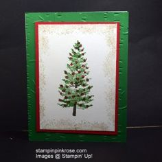 Stampin' Up! Christmas card with Season LikeChristmas stamp set and designed by Demo Pamela Sadler. .This stamp set makes me think of the song Oh Christmas Tree. See more cards at stampinkrose.com #stampinkpinkrose #etsycardstrulyheart