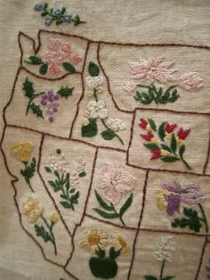 Vintage United States state Flower Embroidered Sampler Pre Hawaii and Alaska