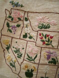 Vintage United States state Flower Embroidered Sampler Pre Hawaii and Alaska
