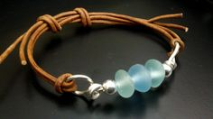 Sea Glass Bracelet, Sea Glass Jewelry, Sterling Silver, Natural Leather Cord, Adjustable, Sea Glass