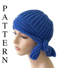 Crochet Hat Pattern Flapper Style with Side Tie Sell What You Make     //      Purchase the pattern.
