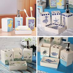 #Ceramic nautical 4 pcs bathroom accessory soap, #lotion, toothbrush #holder, cup,  View more on the LINK: http://www.zeppy.io/product/gb/2/251754785769/