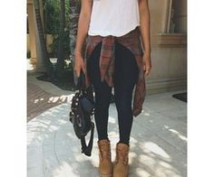 (16) Tumblr | Love This Plaid and Timbs with a tee very simple - http://AmericasMall.com/categories/juniors-teens.html