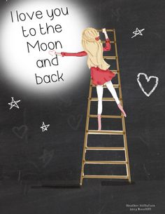 Kids Wall Art - Chalkboard Art-  Moon Art - I love you to the Moon and Back- Childrens Room Decor - Art Print - 8x10