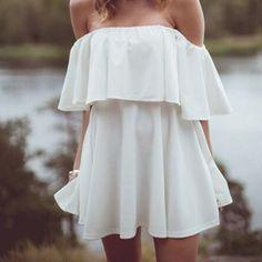 Off The Shoulder Short Sleeves Flouncing Designed Solid White Mini Dress