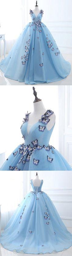 Unique v neck blue long prom dress, sweet 16 dress, blue evening dress for teens