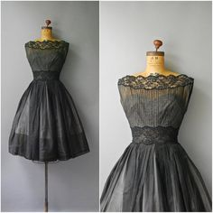1950's Black Lace Dress//Cocktail Dress//50's by CapsuleVintage