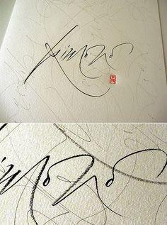 brushpen + watercolor paper 24 x 32 cm Calligraphy by Silvia Cordero Vega