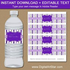 Purple and Silver Wedding Water Bottle Labels Printable, Birthday Decoration, Birthday, Purple and Silver Baby Shower Favors Glitter Images, Glitter Pictures, Printable Water Bottle Labels, Printable Labels, Glitter Force, Silver Glitter, Glitter Art, Glitter Makeup, Glitter Wallpaper Iphone
