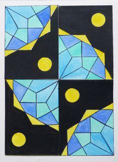 quattro #ACEO componibili dipinti a mano. #geometria #modulo #composizione