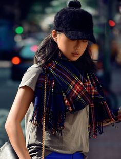 Cute hat and plaid scarf