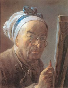 """Self-portrait In Pastels""  --  Circa 1778  --  Jean-Baptiste-Simeon Chardin  --  French  --  The Louvre  --  Paris, France"