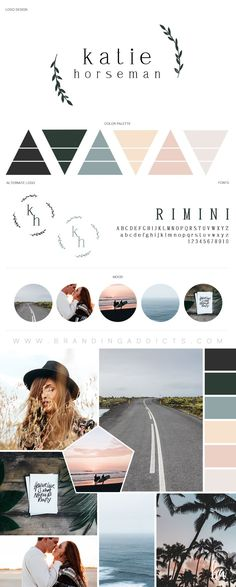 Branding Addicts New Brand Board. An adventurous spirit meets the wonders of nature, with a touch of organic warmth. Travel. Love. Romance. Wonderlust. Adventure. Country. Sunsets. Photographer. Summer Road trips. Added warmth with the cohesion of peach and salmon color shades with the mixture of forrest green, grey and dusty blue. Professional Business Branding by Designer Laine Napoli. Web Design, Logo, Mood Board, Brand Boards, and more. Contact for Pricing: www.brandingaddicts.com