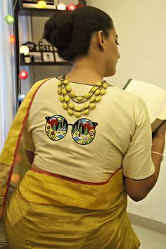 Buy Stitched Embroidered Blouse Online in India Kerala Saree Blouse Designs, Saree Blouse Neck Designs, Fancy Blouse Designs, Kurta Designs, Designer Blouse Patterns, Embroidered Blouse, Kolkata, Weddingideas, Sarees
