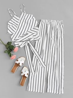 Shop Striped Knot Hem Cami Top With Pants online. SheIn offers Striped Knot Hem Cami Top With Pants & more to fit your fashionable needs. Teen Fashion Outfits, Girl Fashion, Girl Outfits, Cute Casual Outfits, Summer Outfits, Romwe, Striped Cami Tops, Jugend Mode Outfits, Teenager Outfits
