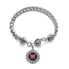 Baton Twirling Circle Charm Braided Bracelet