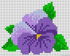 Looks like a pansy to me. Mini Cross Stitch, Beaded Cross Stitch, Cross Stitch Rose, Cross Stitch Flowers, Cross Stitch Charts, Cross Stitch Designs, Cross Stitch Embroidery, Cross Stitch Patterns, Bead Loom Patterns
