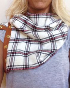 Plaid Flannel and Leather Snap Scarf  by KutKloth on Etsy, $28.00