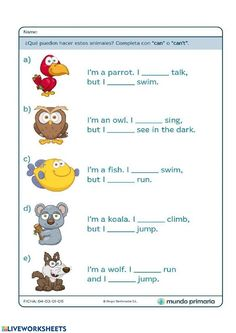 English Activities For Kids, English Grammar For Kids, English Worksheets For Kindergarten, Basic Grammar, Learning English For Kids, Kids English, Kids Learning Activities, Worksheets For Kids, English Lessons