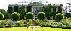 Mount Stewart house rear facade and gardens. Mount Stewart House, Portaferry Road, Mount Stewart, Newtownards, County Down, Northern Ireland.