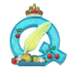 MARY ENGELBREIT Decorative Alphabet Letter Super Magnet  Q  Queen  Quill -- Click image for more details.Note:It is affiliate link to Amazon.
