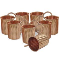 Amazon.com: DakshCraft ® Handamde Copper Moscow Mule Diamond Cut Cocktail Mugs, Set of 8 - Capacity 15.89 oz per mug: Kitchen & Dining