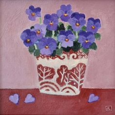 Pansies by Jill Leman, Fine Art Greeting Card, Acrylic on Board, Pansies in a red and white pot