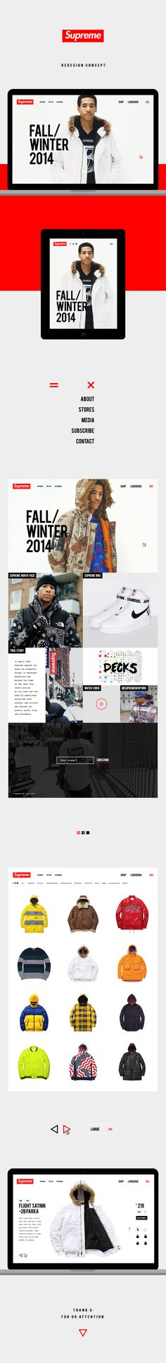 Supreme NY redesign concept on Web Design Served