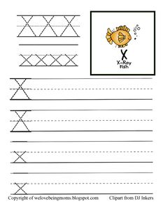 X+with+Copyright.jpg (576×720) Pre K Worksheets, Letter Activities, Preschool Activities, Free Printables, Classroom Ideas, Homeschool, Letters, Classroom Setup, Lettering