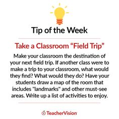 "TeacherVision Tip of the Week: Take a Classroom ""Field Trip"" 💡 For more teaching tips and classroom advice, visit TeacherVision.com!"