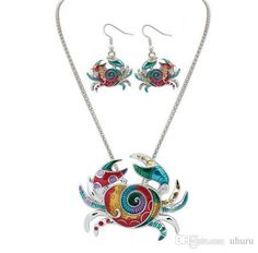 Wholesale cheap jewerly set online, jewelry sets type - Find best colorful crab pendant necklace dangle earring jewelry set for women and girls at discount prices from Chinese earrings & necklace supplier - uhuru on DHgate.com.