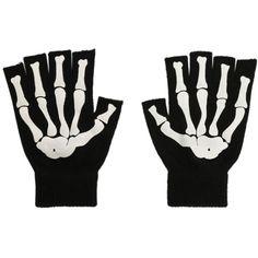 Skeleton Fingerless Gloves (16 CAD) ❤ liked on Polyvore featuring accessories, gloves, skeleton gloves, skeleton fingerless gloves, cold weather gloves and fingerless gloves