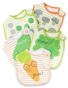 5 Pack Pure Cotton Vegetable Print Bibs Clothing