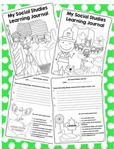 Social Studies Learning Journal -available for both Canadian and American students and teachers (sold separately).  From my TPT store.