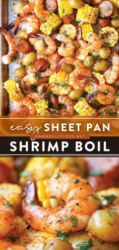 293 reviews · 40 minutes · Gluten free · Serves 6 · This Sheet Pan Shrimp Boil in the oven is one of the easiest Father's Day recipes! Made in just one pan, cleanup is a breeze. Enjoy this family-friendly dinner of shrimp, sausage, potatoes, and corn! Pork Recipes, Seafood Recipes, Cooking Recipes, Yummy Recipes, Tasty Shrimp Recipes, Yummy Food, Healthy Recipes, Shrimp Recipes For Dinner, Chicken